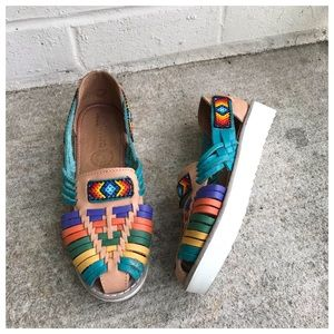 Shoes - Handmade Mexican Beaded Colorful Huarache Sandals